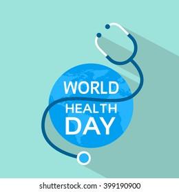 Earth Planet Stethoscope World Health Day Globe Flat Vector Illustration