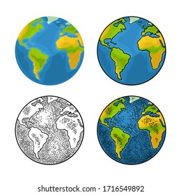 Earth planet. Vector color flat and engraving illustration isolated on a white background. For web, poster, info graphic