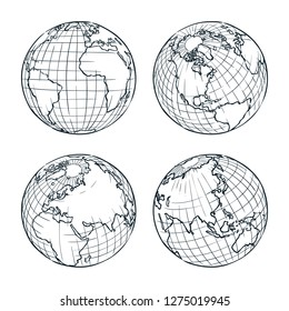 Earth planet vector sketch illustration. Hand drawn doodle globe set.