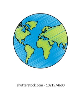 earth planet world globe map icon