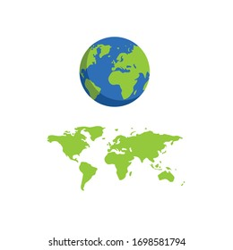 earth planet and world map.Conceptual vector illustration in flat style design.Isolated on background.