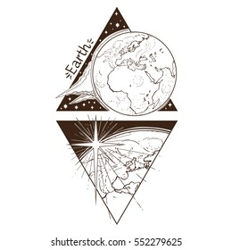 Earth. Planets and stars of Solar system. Symbols for astronomy and astrology. Coloring page. Stylized characters in the form of a triangle on a white background.