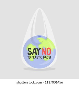 Earth in a plastic bag. Ecology conversation. Eco catastrophe. Segregation and recycling.  Flat editable vector illustration, clip art