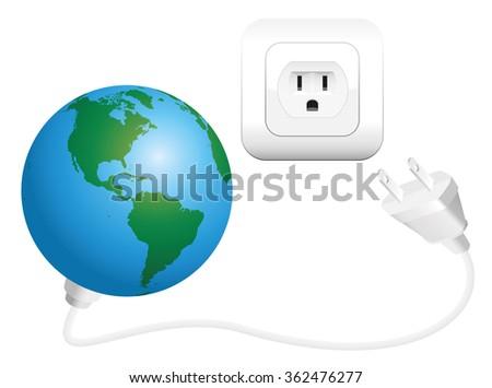 Earth Plug Symbol Global Power Consumption Stock Vector Royalty