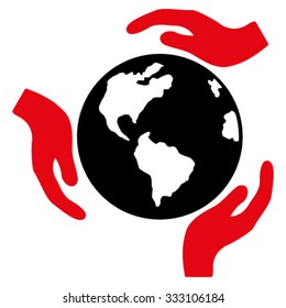 Earth Protection vector icon. Style is bicolor flat symbol, intensive red and black colors, rounded angles, white background.