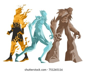 earth rock ice and fire golem titans