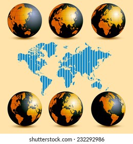 Earth rotation and map with time zones. Vector illustration