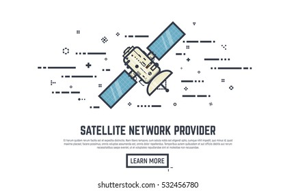 Earth satellite network provider banner. Line style abstract placard with lines and dots. Communication satellite with solar panels ans dish with antena.