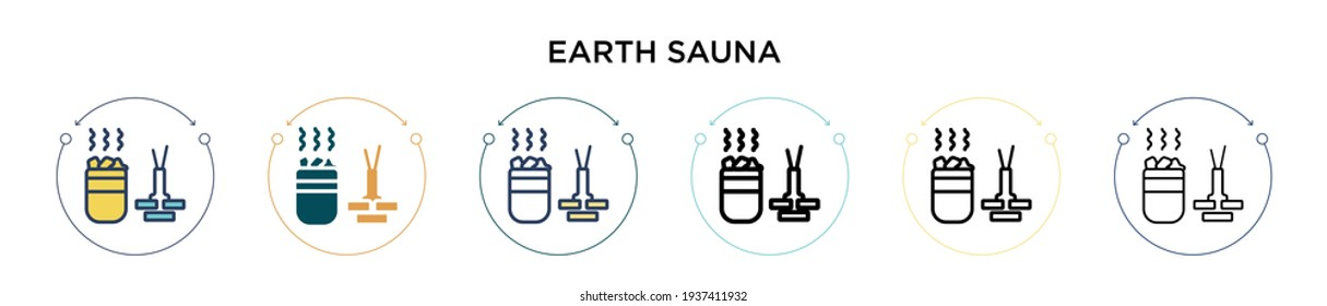 Earth sauna icon in filled, thin line, outline and stroke style. Vector illustration of two colored and black earth sauna vector icons designs can be used for mobile, ui, web