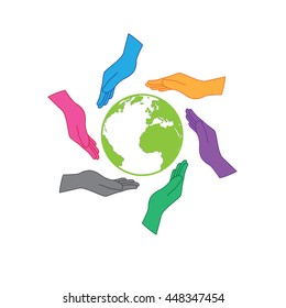 Earth saving icon logo. Six hands are protecting the earth. Six colors hands representing people all around the world, whatever nation, continent or skin color would have responsibility to the earth