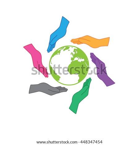 Earth Saving Icon Logo Six Hands Stock Vector Royalty Free