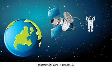 Earth scene with astronaut and satellite illustration