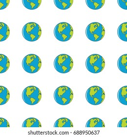 Earth seamless pattern in cartoon style isolated on white background vector illustration