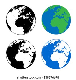 Earth Silhouette Vector Illustrations