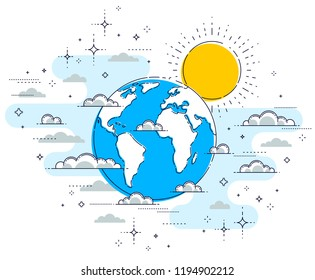 Earth in the sky surrounded by clouds beautiful thin line illustration isolated over white background, vector.