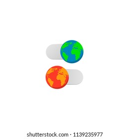earth slider turn off on vector concept earth hour day