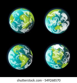 Earth from space continent vector set. Globe world map icon