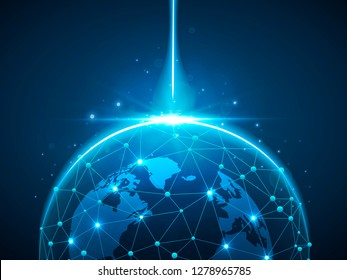 Earth space globe planet with blue ray. Vector polygonal image in the form of Globe with starry sky, consisting of points, lines, and shapes ozone shield