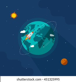 Earth in space vector illustration, rocket space ship flying around planet orbit on solar system universe, moon, stars flat cartoon design, rocketship or missile flight in cosmos or universe