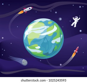 Earth and spaceman, wearing spacesuit, poster with planet and rockets, stars and flight and exploration, placard, isolated on vector illustration
