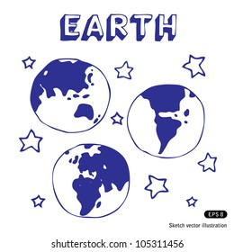 Earth and stars. Hand drawn sketch illustration isolated on white background
