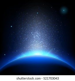 Earth - sunrise in deep blue space. EPS 10 vector file included