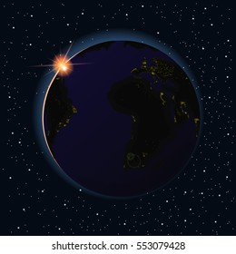 Earth sunrise vector illustration. Africa and America night from space.