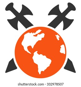 Earth Swords vector icon. Style is bicolor flat symbol, orange and gray colors, rounded angles, white background.