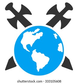 Earth Swords vector icon. Style is bicolor flat symbol, blue and gray colors, rounded angles, white background.