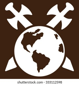 Earth Swords vector icon. Style is flat symbol, white color, rounded angles, brown background.