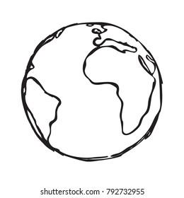 Earth symbol doodle vector