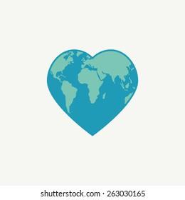 Earth symbol. Globe in the shape of heart. Vector illustration.