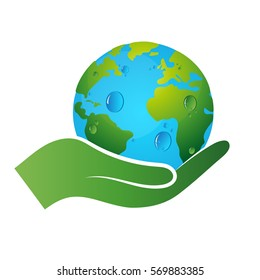 Earth symbol in hand, ecology and recycling
