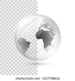 Earth transparent vector globe