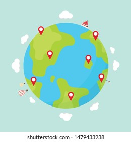 Earth travel vector. wallpaper. free space for text. location symbol.