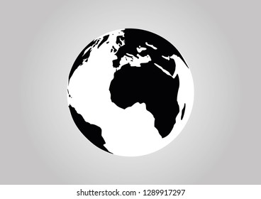 Earth Vector Black and White