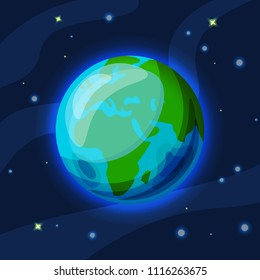Earth vector cartoon and flat illustration. Green and blue Earth planet in starry space with atmosphere glowing. Vector Earth illustration, with continents and oceans in front