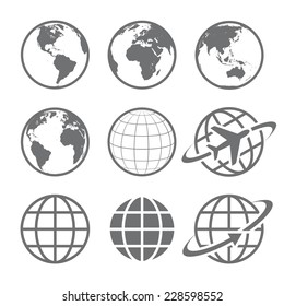 Earth Vector globe Icon set. Set of nine simple Earth globe icons. Vector file is layered.