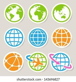 Earth vector icons set. Credit : NASA