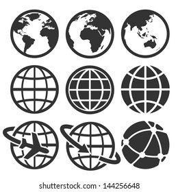 Earth vector icons set. Elements of this image furnished by NASA