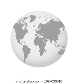 The Earth, World Map on gray background. Globe. Vector illustration