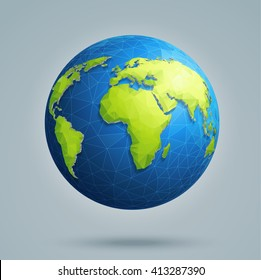 Earth, world map. Polygonal 3D globe with global connections.