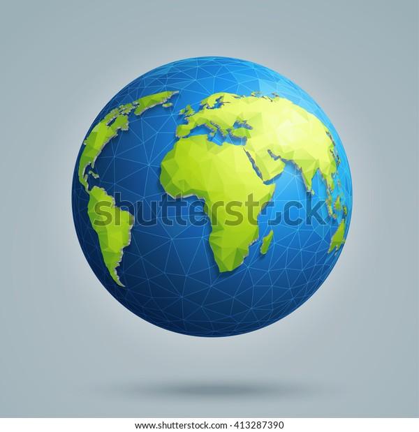 Maa Maailmankartta Monikulmainen 3d Maapallo Globaaleilla