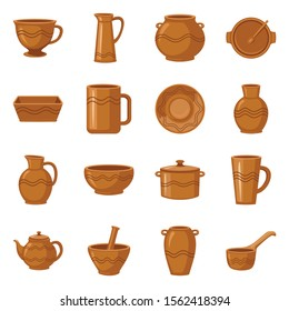 Earthenware and ceramic vector cartoon icon set.Vector isolated illustration mug,jug,pot and other earthenware.Icon set of ceramic dish,bowl and vase.