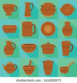 Earthenware and ceramic vector fiat icon set.Vector isolated illustration mug,jug,pot and other earthenware.Icon set of ceramic dish,bowl and vase.