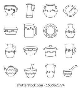 Earthenware and ceramic vector line icon set.Vector isolated illustration mug,jug,pot and other earthenware.Icon set of ceramic dish,bowl and vase.