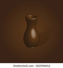 earthenware made of clay, brown color 3d element decorative ornament, ceramic souvenir design vector graphic