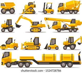 Earth-Moving Heavy Equipment for Construction. Tractors, cranes, loaders and excavators
