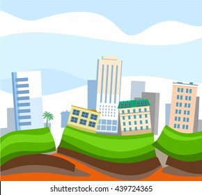 Earthquake in the city, colored picture, vector. Due to the tectonic fault, the city began an earthquake. City house leaned to one side. A natural disaster, an earthquake.