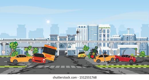 The earthquake destroyed building and street, Damaged city street. Cataclysm damages road destruction and destroyed urban crossroad. War disaster or car destroy earthquake.vector illustration.